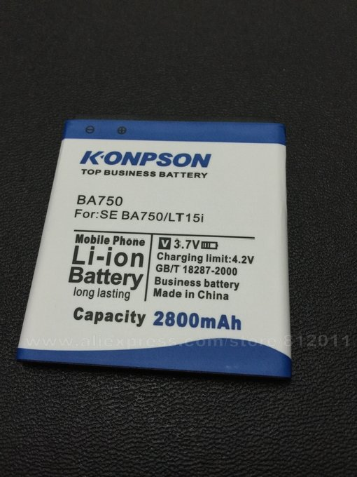Top business battery 2800mAh BA750 Battery for Sony Ericsson xperia Arc S LT15i LT18i X12 replacement Global free shipp+track no(China (Mainland))