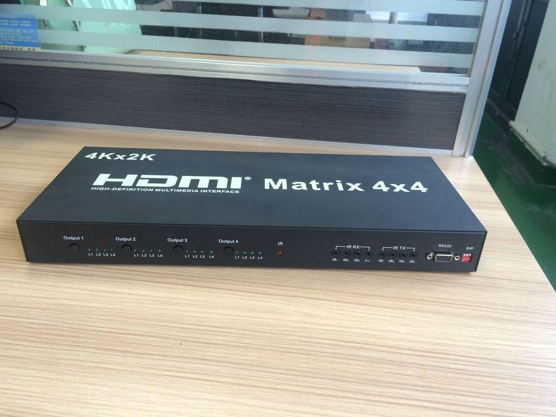 4K*2K 1.4V HDMI Matrix 4X4 3D Full HDMI Switcher With IR Remote Control Support RS232 Control and Update(China (Mainland))