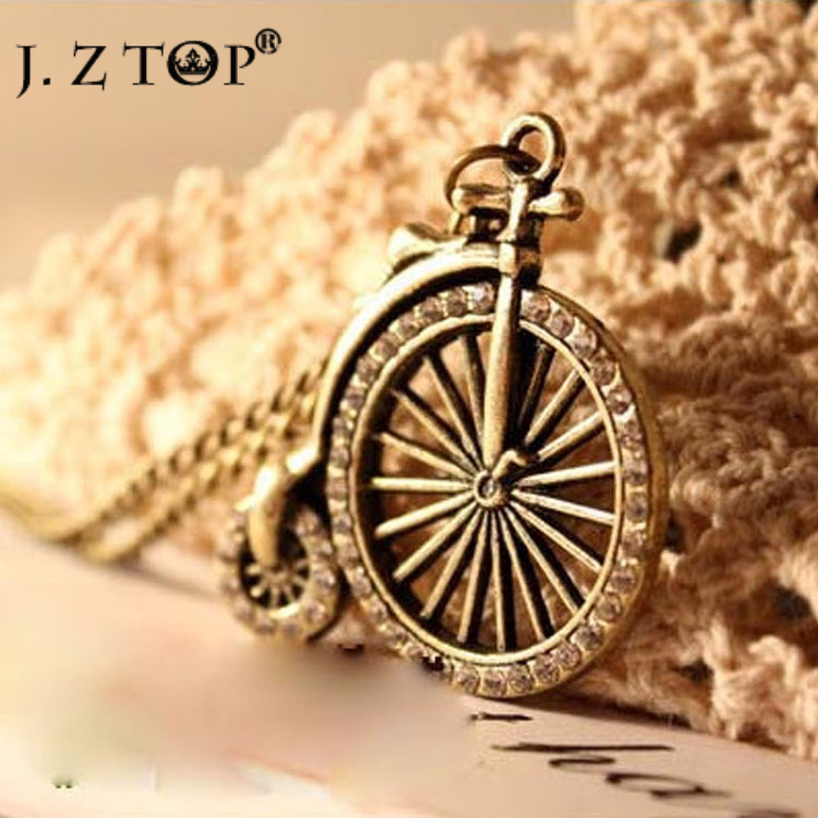 2016 Retro Vintage Three-dimensional Rhinestone Bicycle Long Chain Necklace women Trendy Sweater Accessories bijoux femme(China (Mainland))
