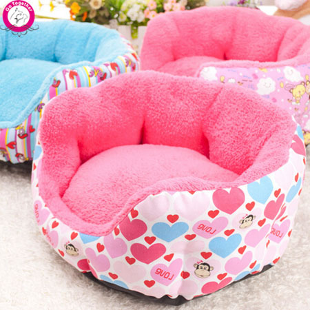 6 Design Cartoon Colorful Printing Round Dog Bed Pink Heart Dog Kennel Soft Durable Pet House For Small Dogs(China (Mainland))