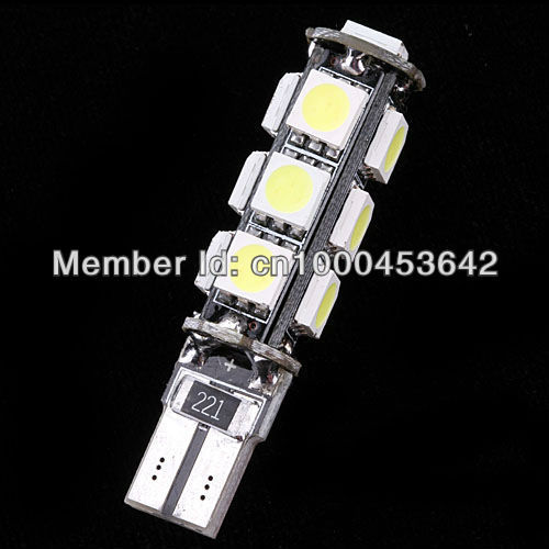 Free Shipping 50pcs T10 W5W 13 SMD CANBUS 5050 car led bulbs white color<br><br>Aliexpress