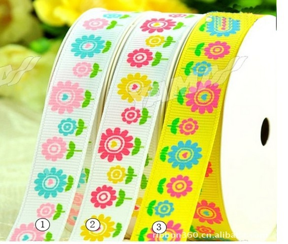 Fashion Wholesale 25mm 100yard/roll Grosgrain Ribbon ribbon sunflower Printed wedding accessories/thanksgiving ribbon(China (Mainland))