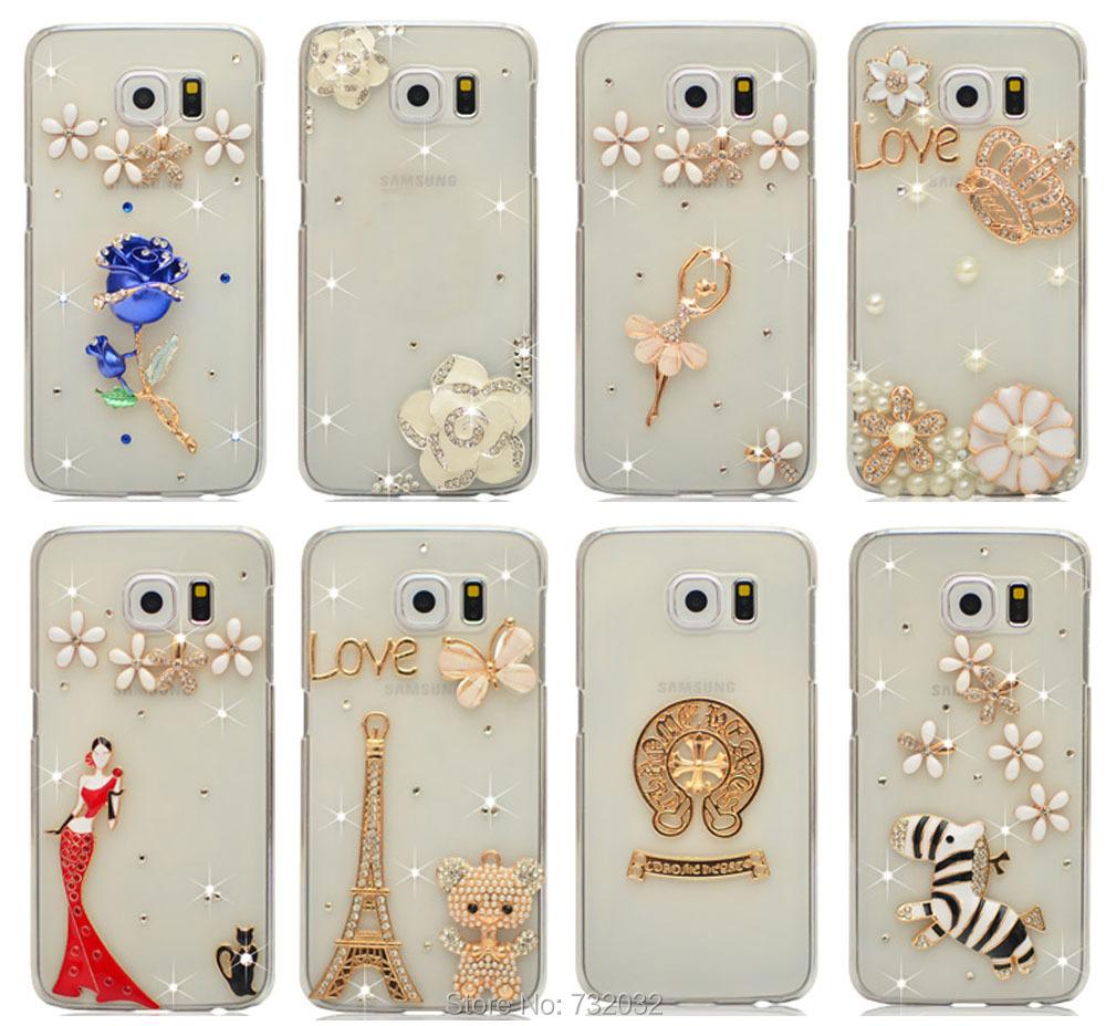 2015 3D Daisy Bling Rhinestone Bear Crystal Daisy Eiffel Hello Kitty Cell Phone Case Cover for Samsung Galaxy S6 Edge G9250 Case(China (Mainland))
