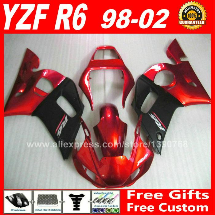 Здесь можно купить  Fairing kit for 1998 - 2002 YAMAHA R6 1999 2000 2001  body parts  red matte black 98 99 00 01 02 fairings kits H6S2  Автомобили и Мотоциклы