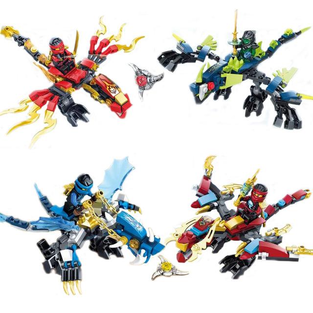 4PCS/LOT SY249 Ninjagoes dragon Rider building block Fighter Series Tornado Fighter Spinjitzu Minifigures baby toys baby gift(China (Mainland))