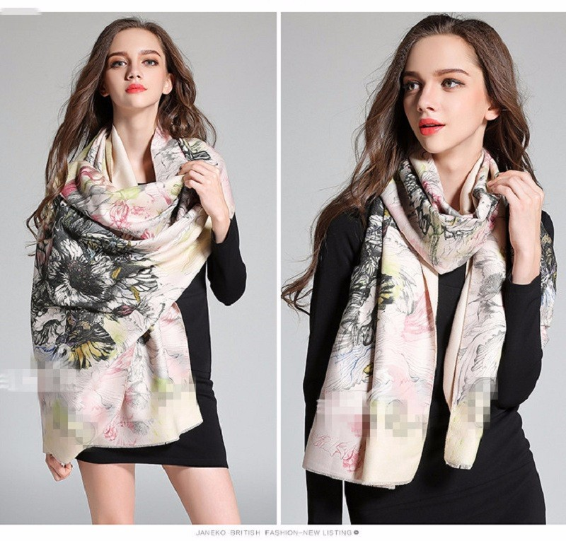 2015 Fashion M Brand Cashmere Wool bufandas Winter Women Scarves Floral Print Scarf Big Pashmina Warm Shawls and Scarves