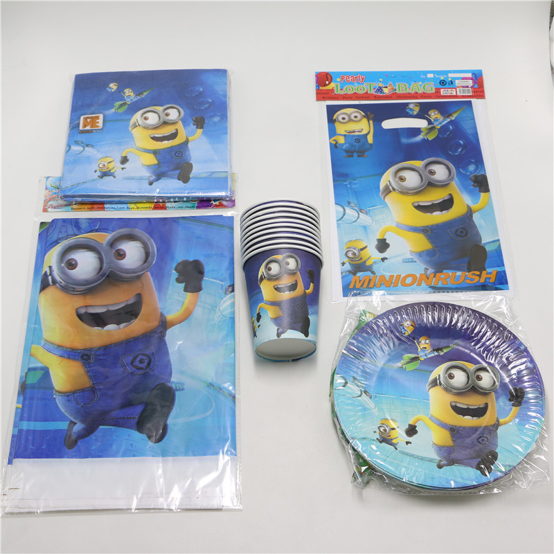 Despicable Me Minions theme Kids Birthday Party Decoration napkin tablecloth cup 10people Baby Shower Decor 51pcs/lot(China (Mainland))