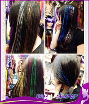 new arrival high temperature laser wire color hair fluorescent wigs pills,8 color clip-in hair extension piece,free shipping<br><br>Aliexpress