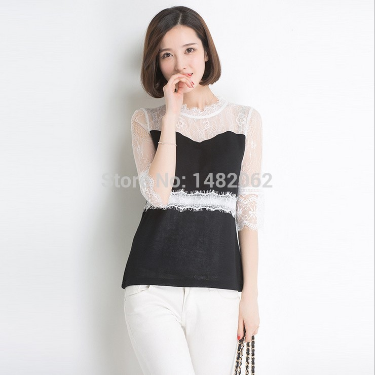 High quality Slim Lace patchwork Spring Renda Sweater pullover blusas Vintage Casual dress Women's clothes Tunic tops 2015 Z089(China (Mainland))