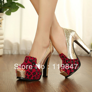 Free shipping 2013 spring and summer New England air thick with fish head women's shoes leopard color stitching