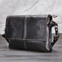 Top Quality New Men First layer Cowhide Genuine leather Vintage Cross Body Shoulder Messenger Business Luxury