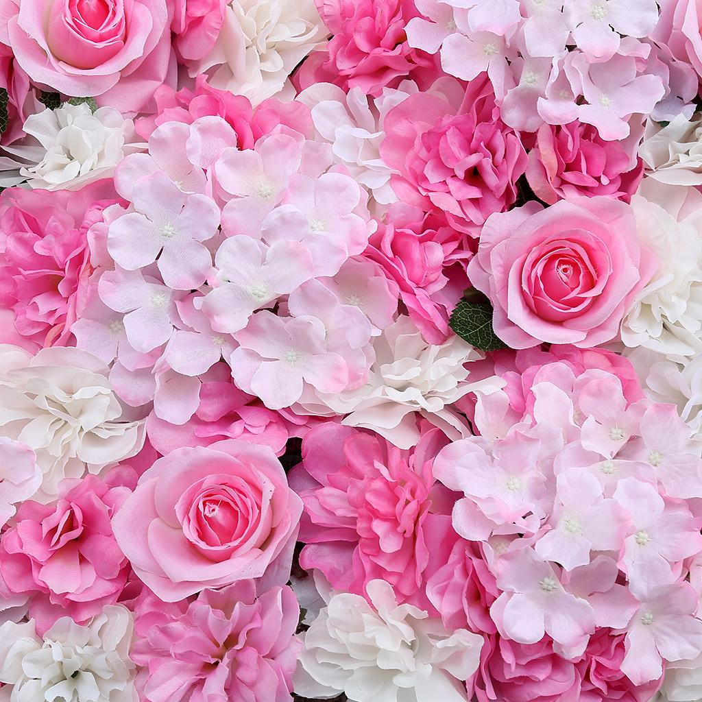 Artificial Flower Wall Panel Fake Silk Rose Flower Hydrangea Flower Wall DIY Background Decor for Wedding Birthday Party60x40cm