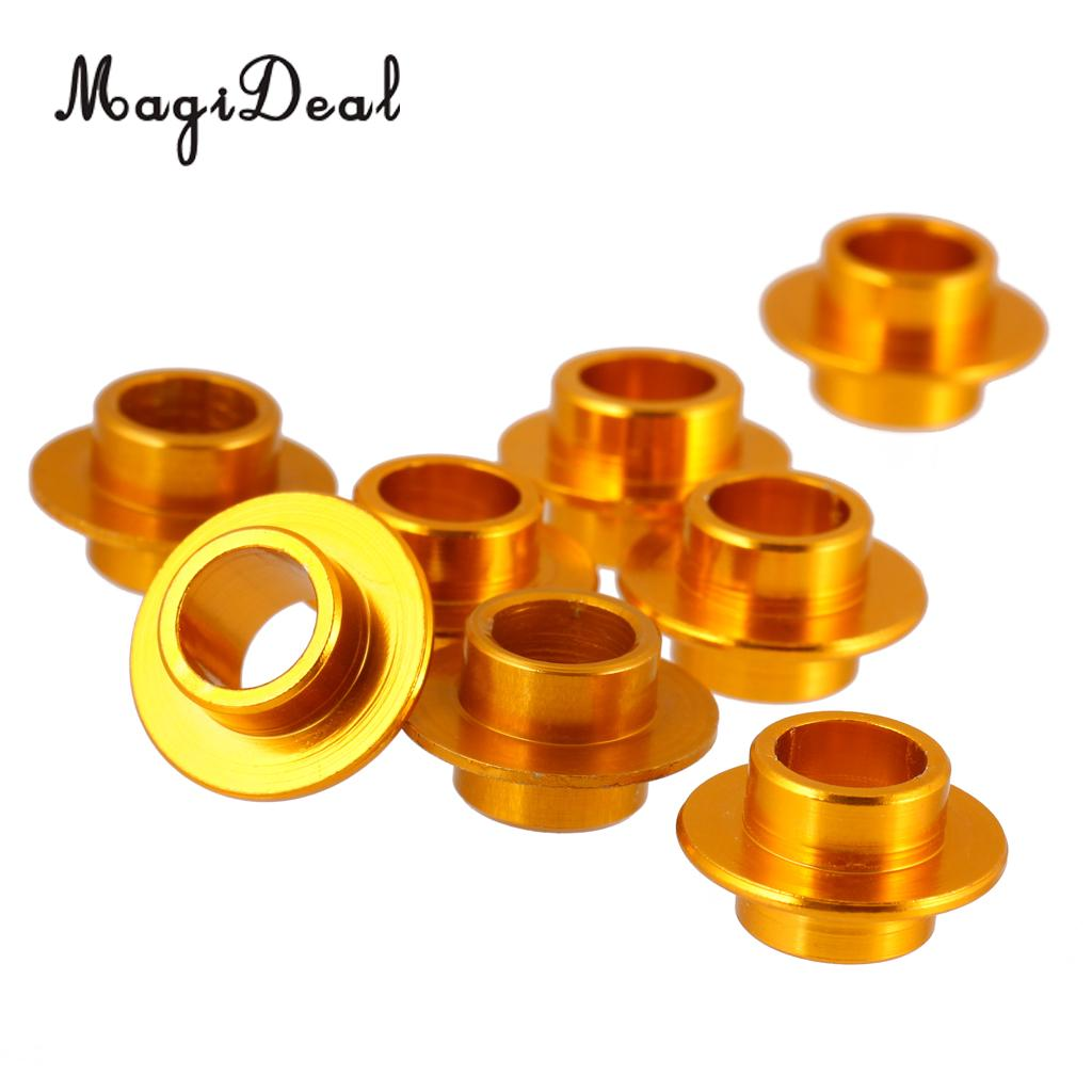 MagiDeal 8 Pcs Aluminum Gold Skating Flying Spacer Bushing Inline Roller Skates Bearing Sleeve Set Roller Skateboard Scooter