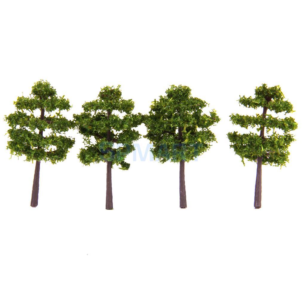 Plastic Model Trees Train Railroad Scenery 1:250 40pcs Deep Green(China (Mainland))