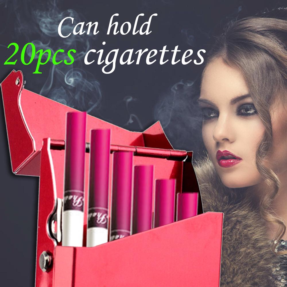 Lady Women Slim Aluminum Cigarette Case Metal Holder Box for 100's King Size Hold 20 Cigarette(China (Mainland))