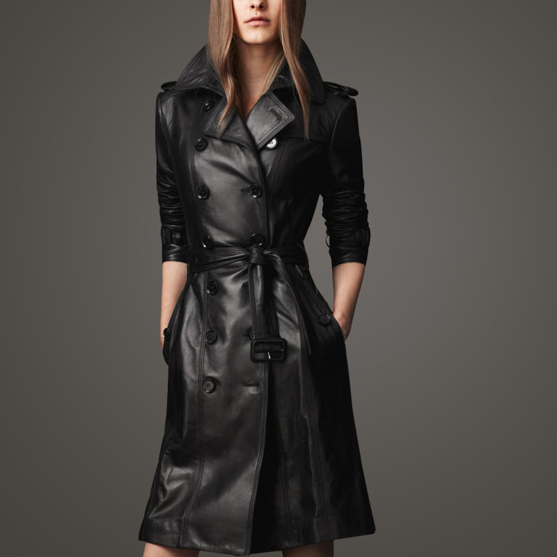 Images of Long Leather Jacket Womens - Reikian