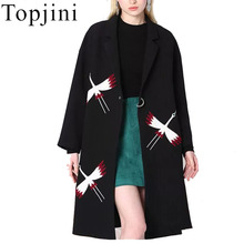 New 2017 Winter Women Overcoat Fashion Autumn Animal Embroidery Long Sleeve Zip Up Turn Down Neck Vintage Female Wool Coats(China (Mainland))