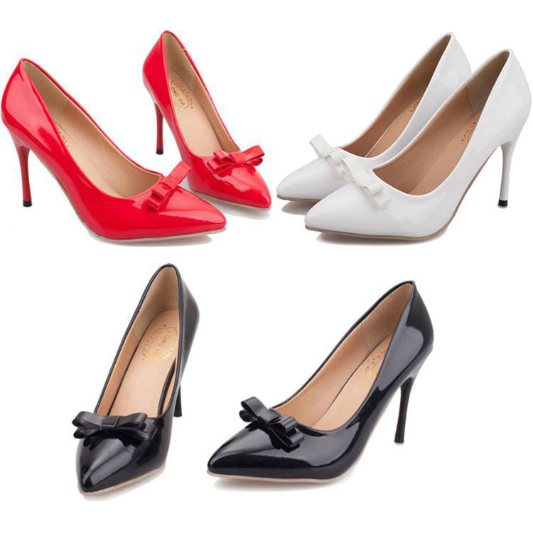 Туфли на высоком каблуке Shoes woman 2015 Bowtie Sapatos Femininos 376 2016 new women shoes spring womens platform genuine leather shoes pumps wedges female heels shoes sapatos femininos xj 056