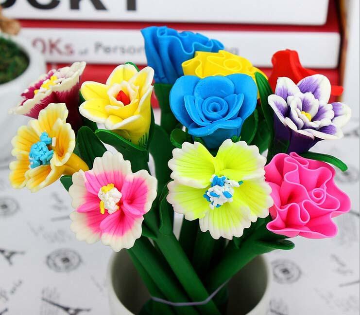 Free ship!20pc! Simulation of flowers Polymer clay pen / craft pen / gift cartoon ball pen(China (Mainland))