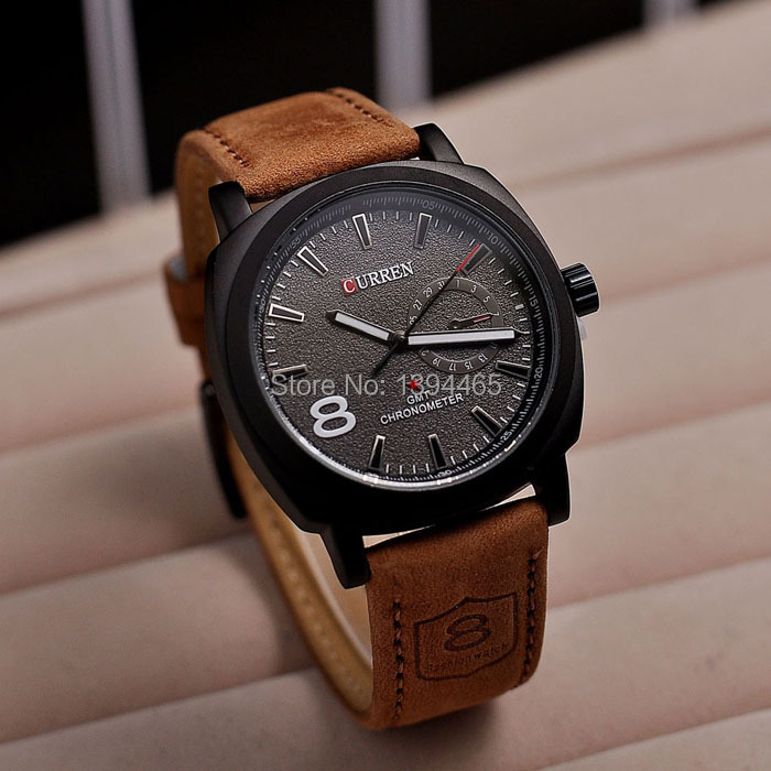 2014 Hot Sale Fashion Casual Watch Analog Men s Wristwatch CURREN M 8139 Leather Strap Sports