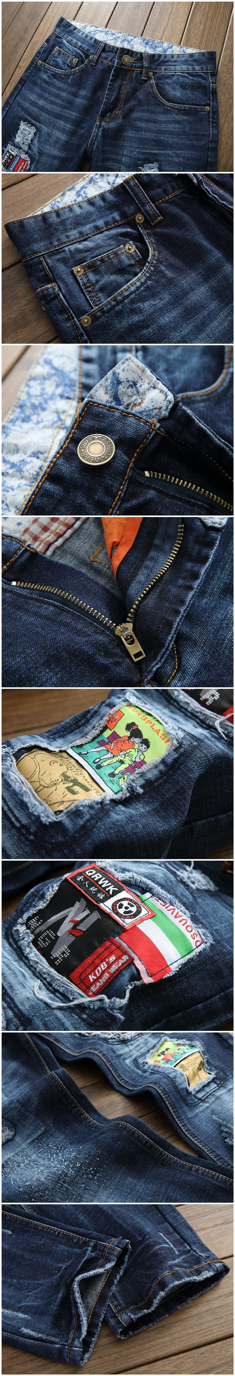 2016 Designer Biker Jeans High Quality Patchwork Calca Jeans Masculina Skinny Denim Overalls Mens Pants Brand Clothing Plus Size