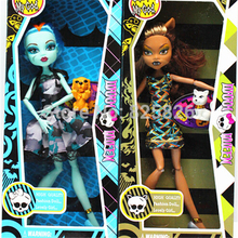 Retail Fashion Doll 2PCS/lot 9.5 Inch Girl Doll Draculaura/Clawdeen Wolf/ Frankie Stein Joint Moveable High Quality 11 joints(China (Mainland))