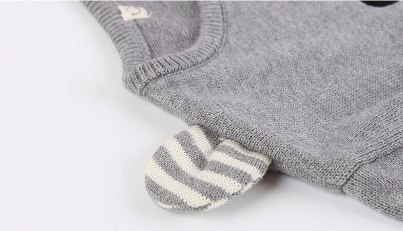 Скидки на Весна осень мальчик свитер печати и медведь ухо ребенка медведь мультфильм дизайн детские свитера теплый свитер