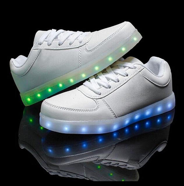 Мода ПРИВЕЛА Обувь 7 Цвета light UP светящиеся Обувь мужчины и женщины платформа ...