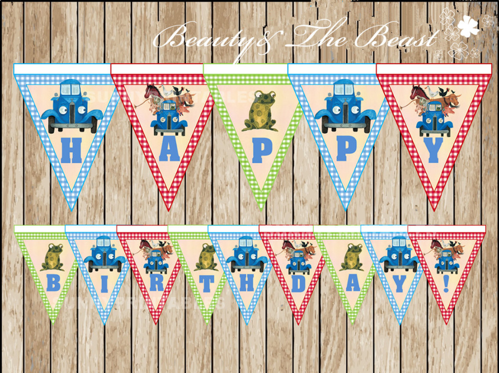 Little Blue Truck triangle Banner Baby Shower Birthday Party Decorations Kids Event Party Supplies Party Printable candy bar(China (Mainland))