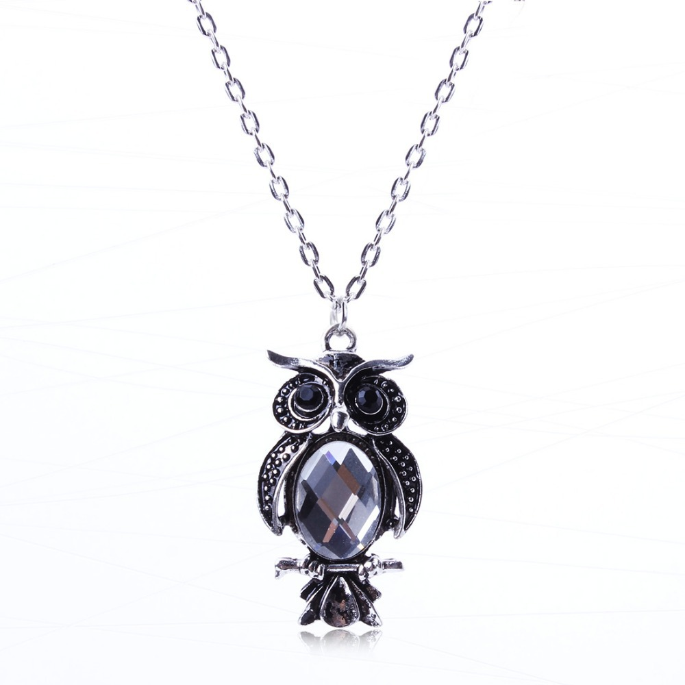 Hot Selling Vintage Silver Jewlery Owl Ellipse Crystal Pendant Necklace Clavicular Chain Wholesale Price For Lady