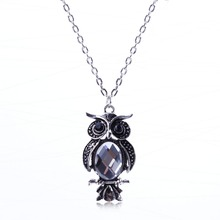Hot Selling Vintage Silver Jewlery Owl Ellipse Crystal Pendant Necklace Clavicular Chain Wholesale Price For Lady XL5680
