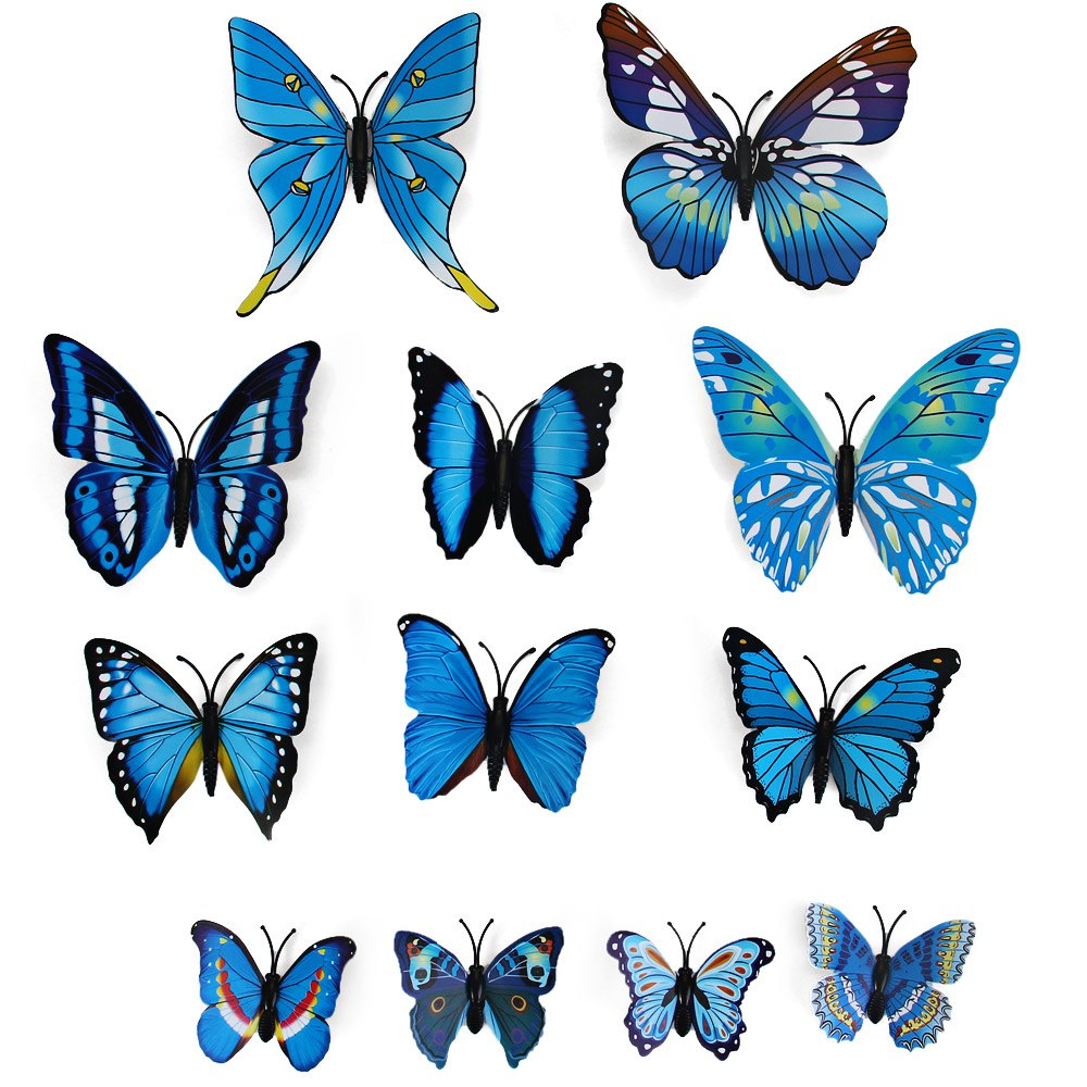Hot 12Pcs Colorful PVC 3D Butterfly Wall Stickers Butterfly Wall Art DIY Decals Fridge Magnet Home Decoration Support Wholesale(China (Mainland))