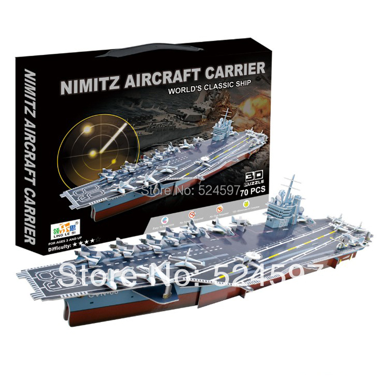 Hotsale homdecor Gift popular Handmade the Nimitz Aircraft Carrier 3D diy paper &EPS foam colorful puzzle toys WJ1032(China (Mainland))
