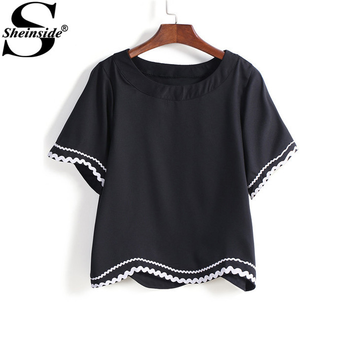 Sheinside Cute Women Tops Summer Blusas Cheap Sale Clothes For Ladies New Fashion Black Contrast Hem Loose Blouse(China (Mainland))