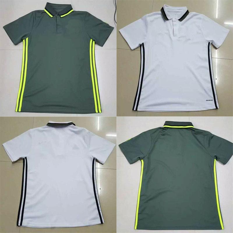 2016 MULLER OZIL new soccer POLO white green shirt 1617 soccer jersey Men's short sleeve casual sportswear(China (Mainland))
