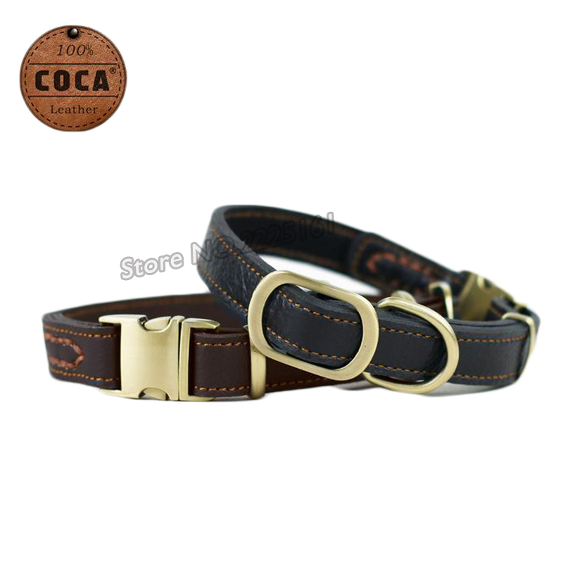 2016 New COCA Brand Durable Adjustable Genuine Cow Leather Dog Collar WIth Zinc Alloy Buckle L30~43cm*W2.0cm Pet Accessories(China (Mainland))