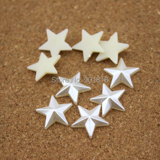 100pcs/lot 10/12/14mm Flatback ABS Half Pearl Beads Star Cabochon Beading Jewelry Material Sewing Fittings F1538(China (Mainland))