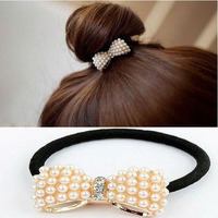 Top Selling Cute Bowknot Elastic Hair Bands For Women Scrunchy Leather headbands For Hair Jewelry A7R1