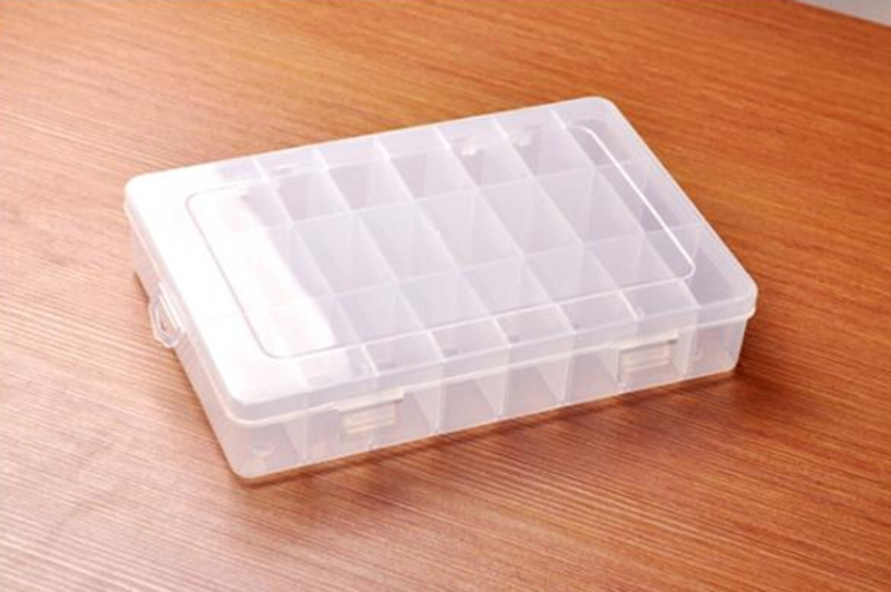 2015 New Adjustable Plastic 24 Compartment Storage Box Earring Jewelry Bin Case Container(China (Mainland))