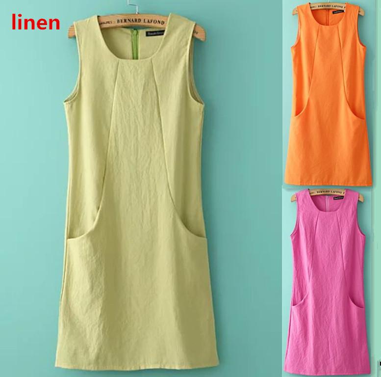 Brand linen dress 2015 Sleeveless slim sundress summer dress female Pocket design style plus size women clothing casual dresses()
