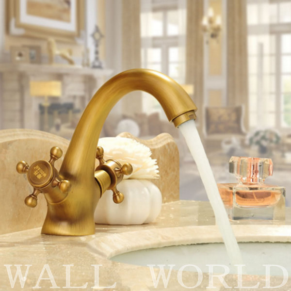 Classical style Home decoration Single Handle Bathroom Sink Mixer Faucet crane tap Antique faucet Brass Hot and Cold Water(China (Mainland))