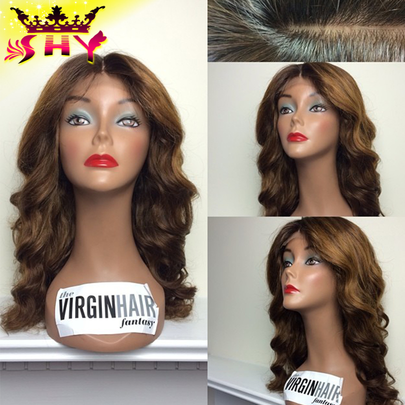 Здесь можно купить  2015 New arrival body wave glueless human hair ombre full lace wigs #1b#4#27 three tone color virgin lace front wig freeshipping 2015 New arrival body wave glueless human hair ombre full lace wigs #1b#4#27 three tone color virgin lace front wig freeshipping Волосы и аксессуары