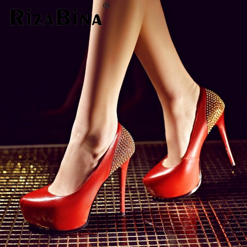 women real genuine leather platform studded stiletto high heel shoes sexy fashion brand pumps ladies shoes size 34-39 R7192