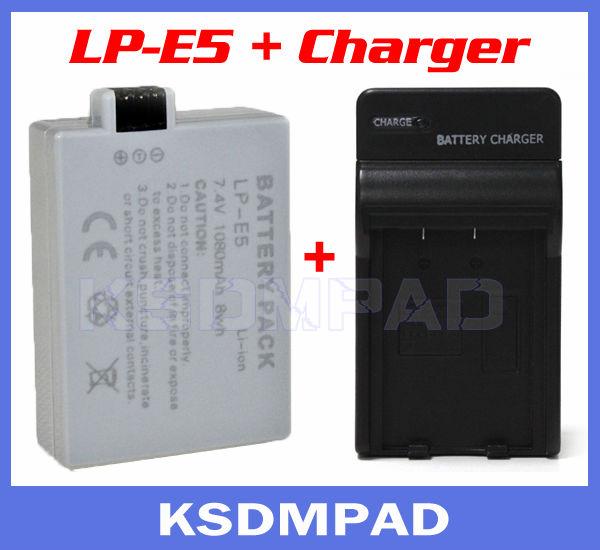 1000 mAh lithium ion camera battery + batterie akku charger LP-E5 LP E5 for Canon EOS 1000D 450D 500D X2 X3 Rebel T1i Xsi(China (Mainland))