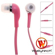 Free shipping Wallytech Earphone For iPhone 4S/4  With Mic and Button For iPhone 3GS/3G Pink Color  (WHF-099 )(China (Mainland))