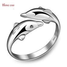 Rings for Women new Fashion Fine Jewelry 2016 Happiness Dolphin playing Lovely Design Adjustable Silver Rings(China (Mainland))