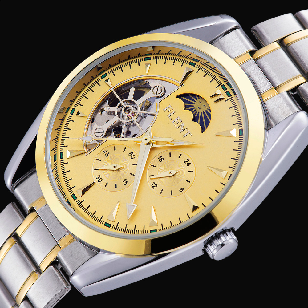 2016 New Men Top Luxury Brand Automatic Self-wind Mechanical Dress Gold Full Steel Strap  Busniess Fashion Casual Sports Watches<br><br>Aliexpress