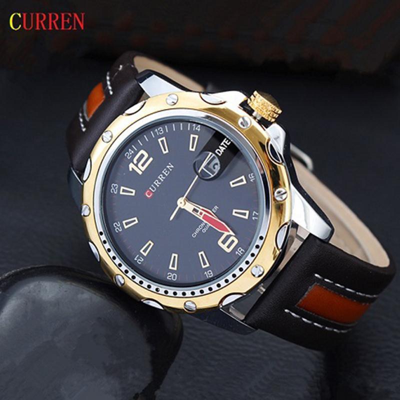 2015 последний тип Curren круглый циферблат аналоговый кварцевые часы с кожаным ремешком и отображения данных. Спортивные мужские часы. Бесплатная доставка