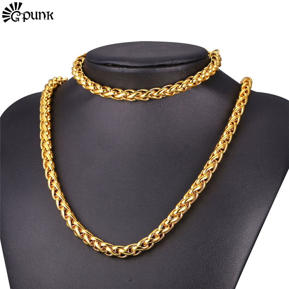 9mm Necklace Bracelet Set For Men Stainless Steel Chain Black Gun Plated 18K Real Gold Plated 2016 Men Jewelry Wholesale S2169G(China (Mainland))