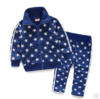 2015 Spring Autumn Children's Casual Sweater Suit Boys Girls Stars Pattern Coat Pants Twinset Kids Long-Sleeved Sports Sets N288(China (Mainland))
